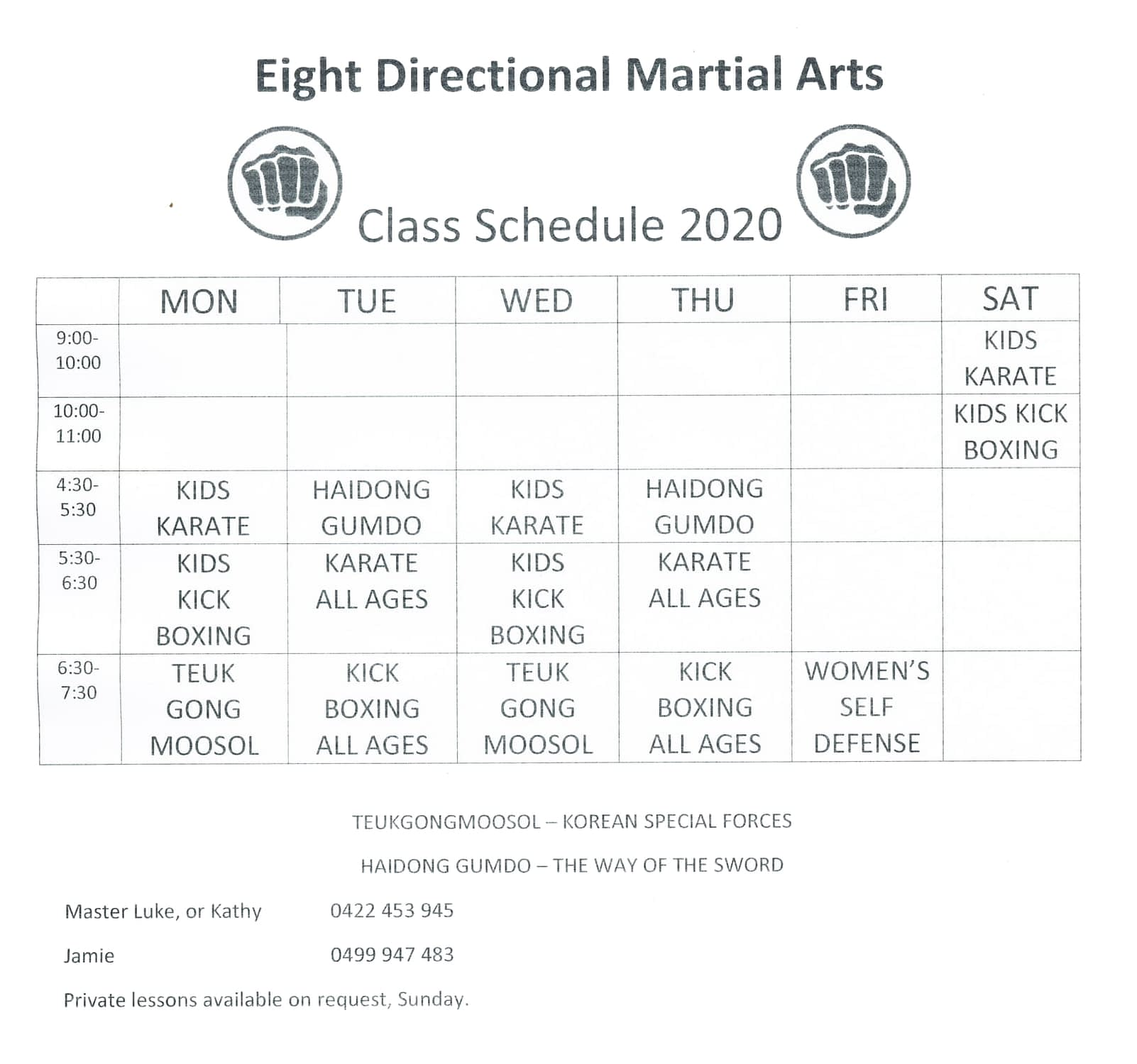 Eight Directional Timetable